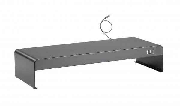 Stahl Monitorerhöhung mit 3fach USB Hub