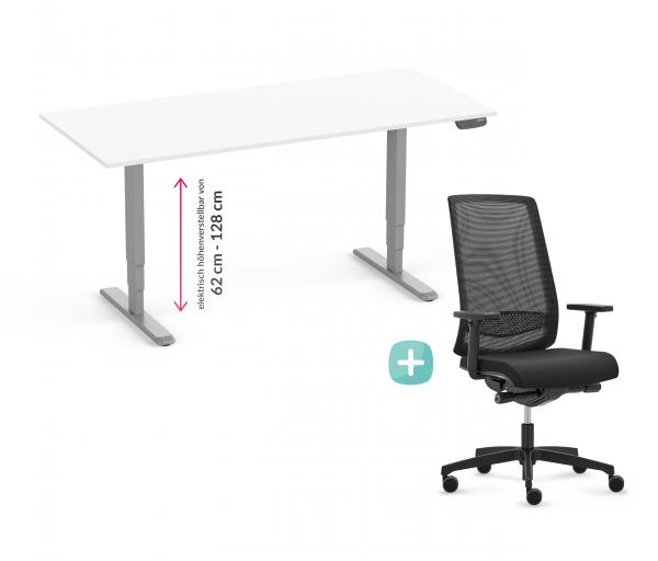 Elektrisch verstellbarer Schreibtisch in 160x80cm. Mit Drehstuhl Delta