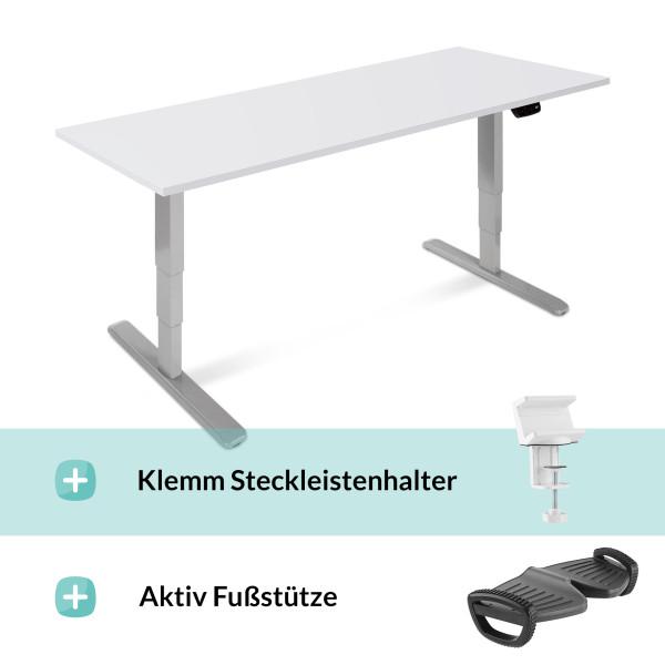Elektrisch verstellbarer Schreibtisch, mit Fußstütze, Steckleistenhalter und Tischplatte in 160x80cm