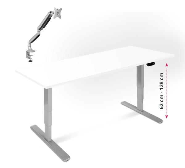 Elektrisch verstellbarer Schreibtisch, mit Gasdruck Monitorarm und Tischplatte in 160x80cm